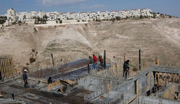 Palestinian workers at a construction site near Ma'aleh Adumim, last year