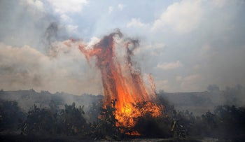 A fire burns in scrubland on the Israeli side of the border between Israel and the Gaza Strip, near kibbutz Gevaram, June 3, 2018, from a burning kite out of Gaza