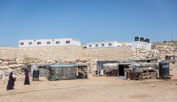 Prefab structures near Ma'aleh Adumim for the relocation of Bedouin from Khan al-Ahmar in the West Bank, July 2018.