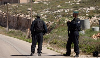 Border police in the West Bank settlement of Yitzhar, 2014.