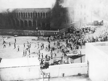 Arabs set alight a Jewish school for boys on December 19, 1947 in Aden, Yemen during a demonstration against the UN partition of Palestine