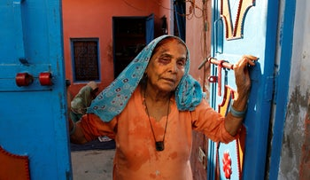 A bruised Asgari Begum, mother of 52-year-old Muslim farmer Mohammad Akhlaq, beaten to death by Hindu villagers after rumors the family ate beef, a Hindu taboo but key industry for many of India's poor, minority Muslim community. Bisara, India Sept. 30, 2015