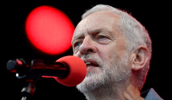 Britain's opposition Labour Party leader Jeremy Corbyn delivers a speech at 'Labour Live', a day of musical performances, speeches and political events, in London. June 16, 2018