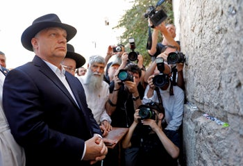 Viktor Orban standing next to the Western Wall in Jerusalem on the final day of his official visit to Israel, July 20, 2018.