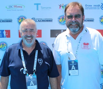 Referee-in-chief Phil Pearson, left, with his deputy, Dennis Mulroney, during the Lacrosse World Championship in Netanya, Israel, July 2018.