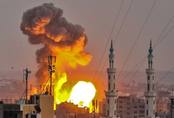 Israeli aircraft and tanks hit targets across the Gaza Strip on July 20, 2018 after shots were fired at troops on the border.