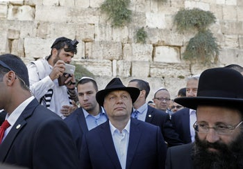 Hungarian Prime Minister Viktor Orban visiting the Western Wall in Jerusalem, July 20, 2018.