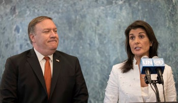 U. S. Secretary of State Mike Pompeo and U.S. Ambassador to the United Nations Nikki Haley speak to reporters at UN headquarters, July 20, 2018.