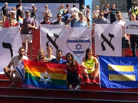 Israelis in New York protest the surrogacy law on July 21, 2018.