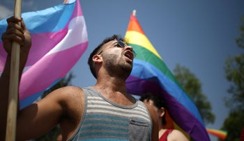 LGBT protesters during Israel's one-day strike against the amended surrogacy law, July 22, 2018