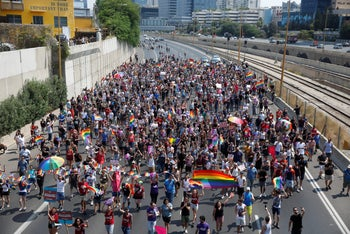 Protesters against the surrogacy law at  Ayalon Highway in Tel Aviv, July 22, 2018.