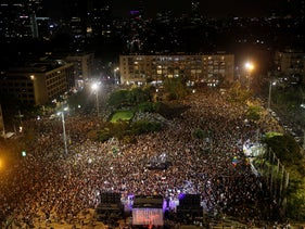 The Tel Aviv rally on behalf of the the LGBT community.