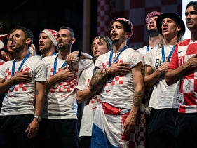 Croatian national football team players sing Croatian national anthem in Zagreb on July 16, 2018.