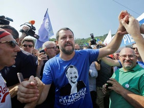 Italian Interior Minister Matteo Salvini arriving in northern Italy to attend his League party's annual rally, July 1, 2018.