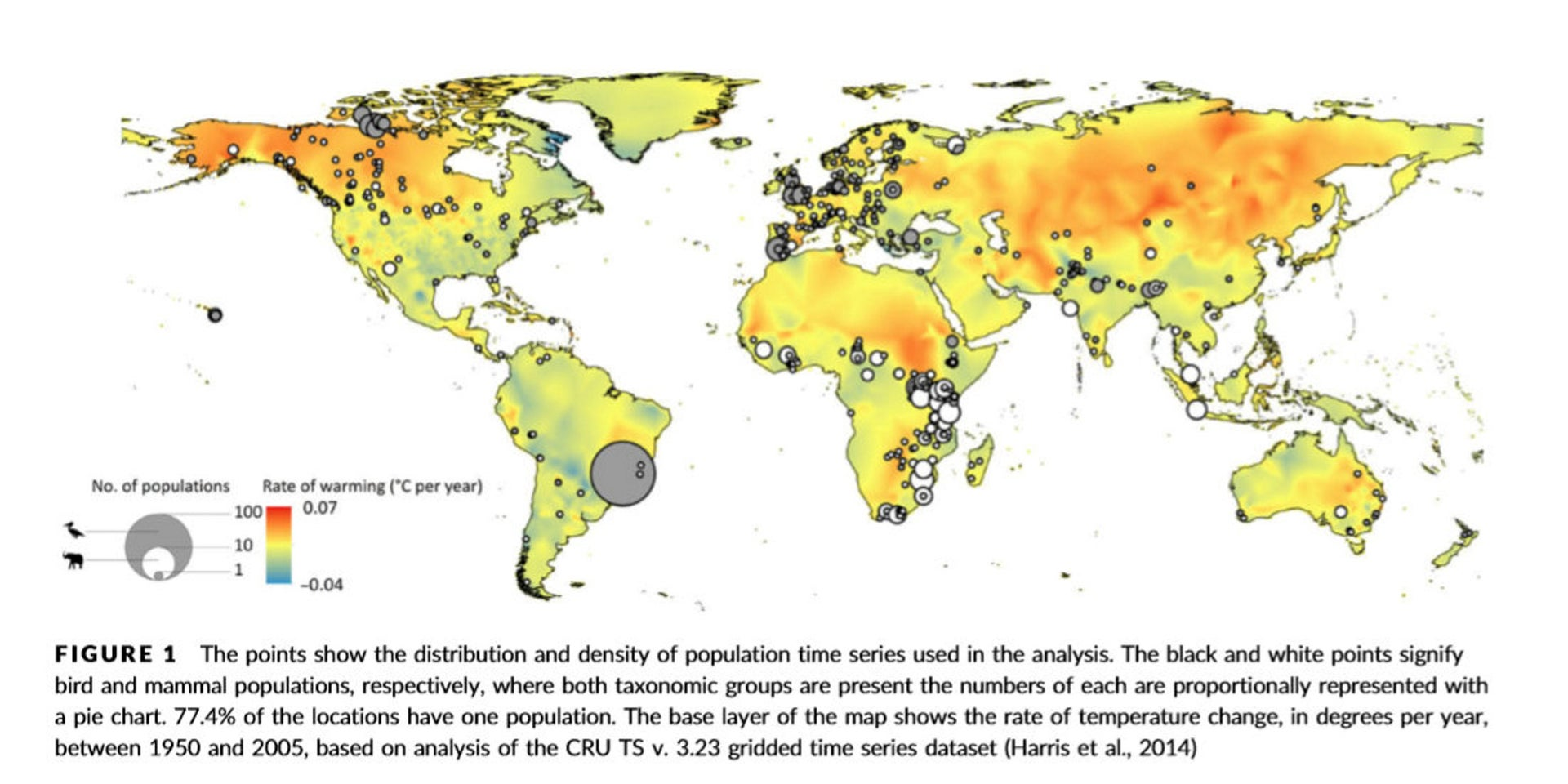 7 Heat map of world showing areas of warmth along with population distribution
