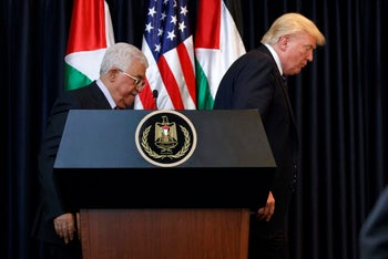 U.S. President Donald Trump and Palestinian President Mahmoud Abbas in the West Bank city of Bethlehem, May 23, 2017.