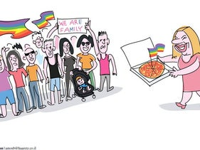 Haaretz illustration: Israelis protested countrywide after a surrogacy law passed without an amendment that could have permitted same-sex male couples to use surrogacy services.