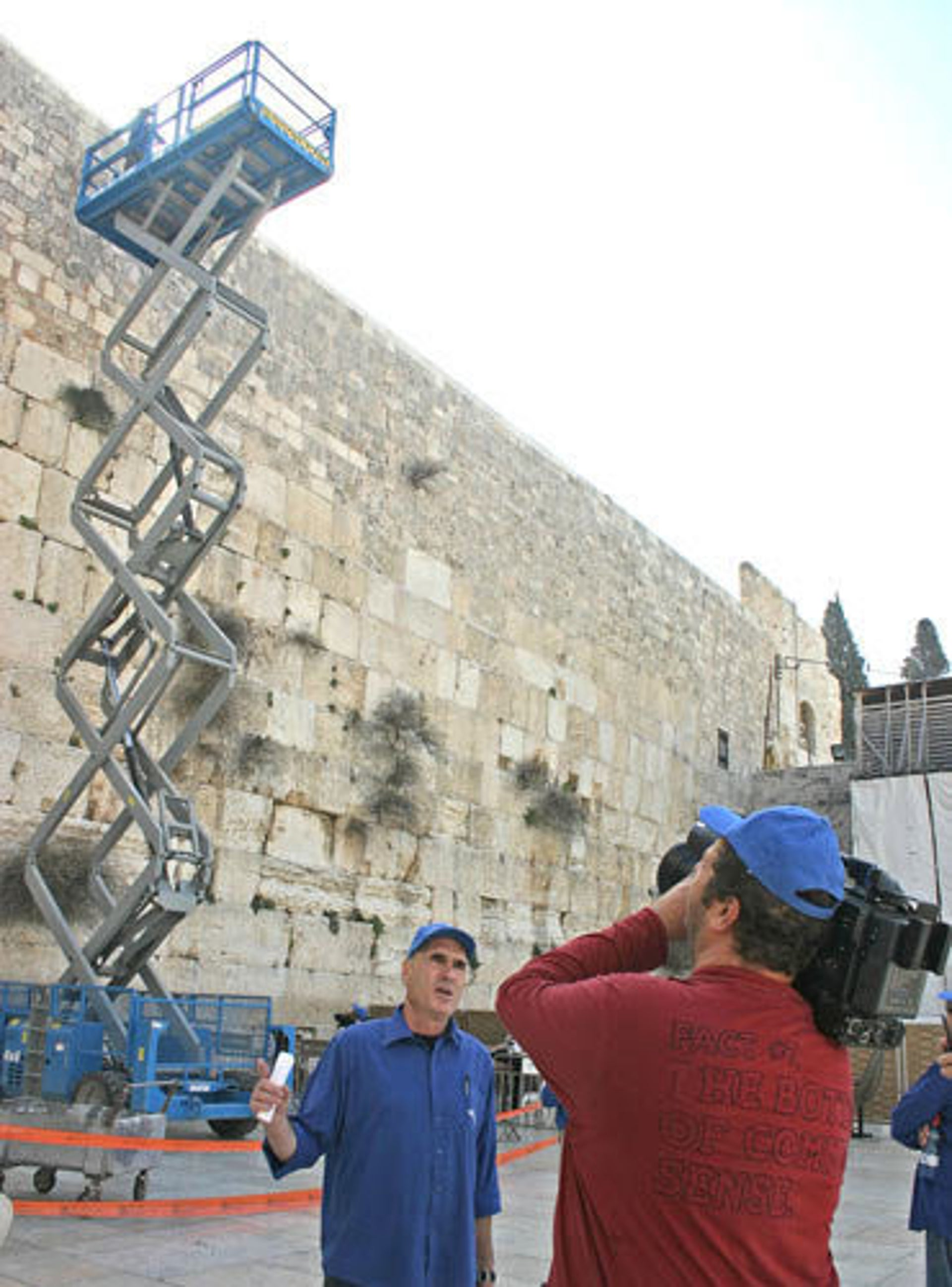 Working being undertaken as part of the Western Wall Conservation Project.