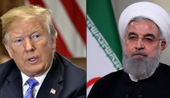 A combination of photos showing U.S. President Donald Trump, left, and Iranian President Hassan Rohani.