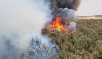 A fire in the moshav of Nahala on July 25, 2018.