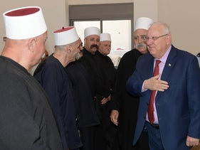 President Reuven Rivlin visiting the Druze community in the Western Galilee during Nabi Shuaib, April 2018.
