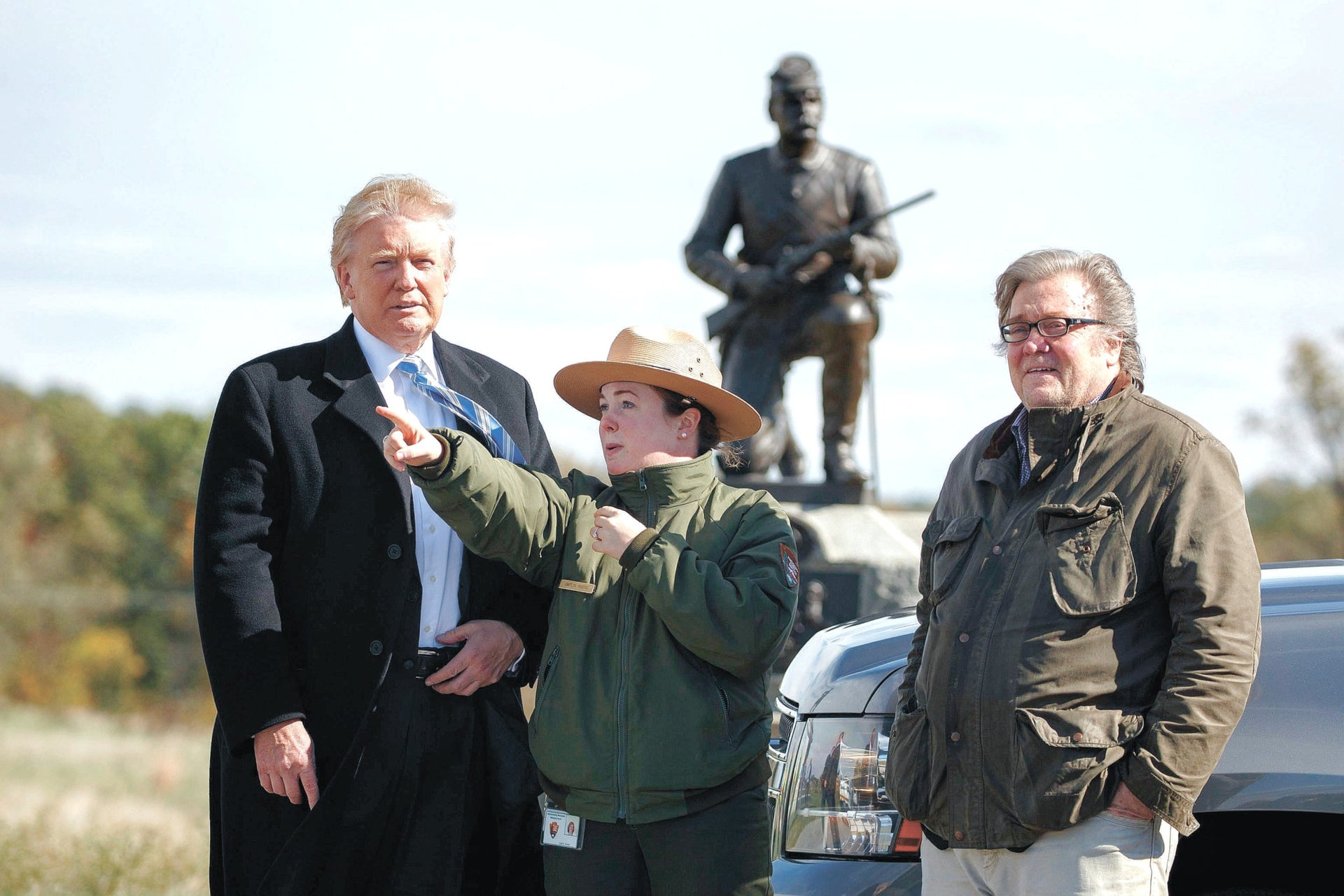 Trump and Bannon on a tour of the  Confederacy at Gettysburg National Military Park, Oct. 22, 2016, in Gettysburg, Pa.