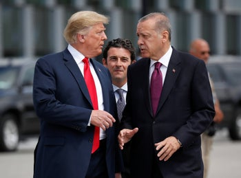 U.S. President Donald Trump and Turkish President Recep Tayyip Erdogan, July 11, 2018.