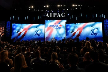 Prime Minister Benjamin Netanyahu speaking at the AIPAC Policy Conference, March 6, 2018.