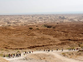 A Birthright Israel group tours Masada, the ancient fortress on a plateau in the desert overlooking the Dead Sea in Israel.