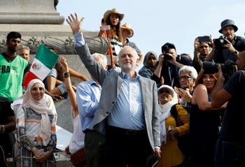 U.K. Labour leader Jeremy Corbyn at an anti-Trump protest in London, Britain on July 13, 2018.
