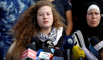 Palestinian teenager Ahed Tamimi speaks during a news conference after she was released from an Israeli prison, in the Nabi Saleh village in the West Bank July 29, 2018.