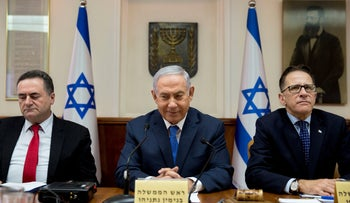 Israeli Prime Minister Benjamin Netanyahu attends the weekly cabinet meeting at the Prime Minister's office in Jerusalem,  July 29, 2018.