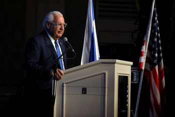 U.S. Ambassador to Israel David Friedman speaks during a reception hosted by the Orthodox Union in Jerusalem ahead of the opening of the new U.S. embassy in Jerusalem, May 14, 2018.