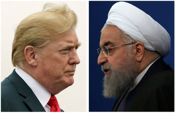 This combination of two pictures shows U.S. President Donald Trump, left, on July 22, 2018, and Iranian President Hassan Rohani on Feb. 6, 2018