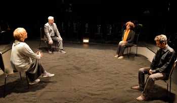 "A scene from Yehoshua Sobol's play ""Bereaved."""