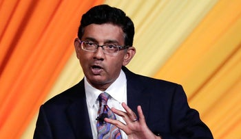 Filmmaker Dinesh D'Souza addressing the audience at the Republican Sunshine Summit in Florida, June 29, 2018.