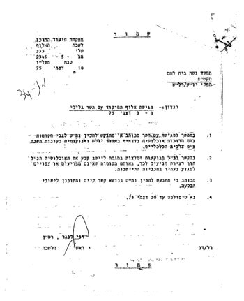 "IDF Maj. Rani Langer's 1975 letter documenting Minister Yisrael Galilee's request for ""recommendations for a permanent settlement"" of Bedouin ""in places that don't disturb [Jewish] settlement plans."""