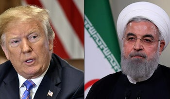 Combination of pictures of U.S. President Donald Trump and Iranian President Hassan Rohani.
