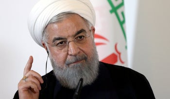 Hassan Rohani attending a news conference at the Chancellery in Vienna, Austria July 4, 2018.