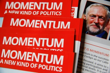Leaflets for Momentum, the group set up to support U.K. opposition Labour Party leader Jeremy Corbyn, at the Labour Party annual conference. Liverpool, U.K. Sept. 28, 2016