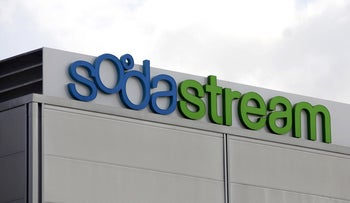The logo of SodaStream International Ltd. is seen outside the company's offices at Airport City, in Tel Aviv, Israel, on Thursday, Aug. 18, 2011