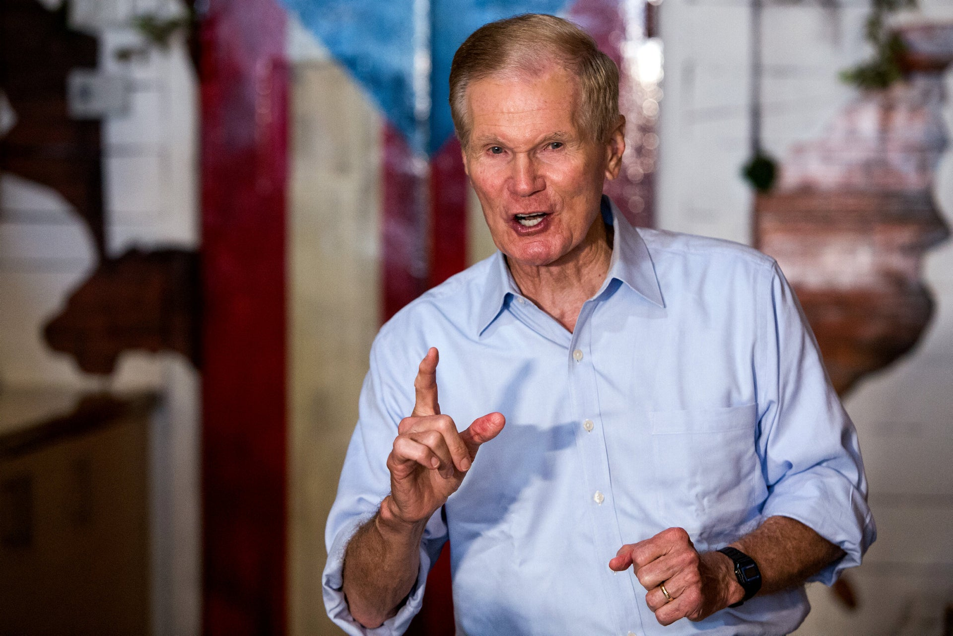 Sen. Bill Nelson (Dem) speaking during at an event in the Little Havana neighborhood of Miami, Florida, July 14, 2018.