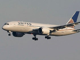 A United Airlines' Boeing Co's 787 Dreamliner plane landing.