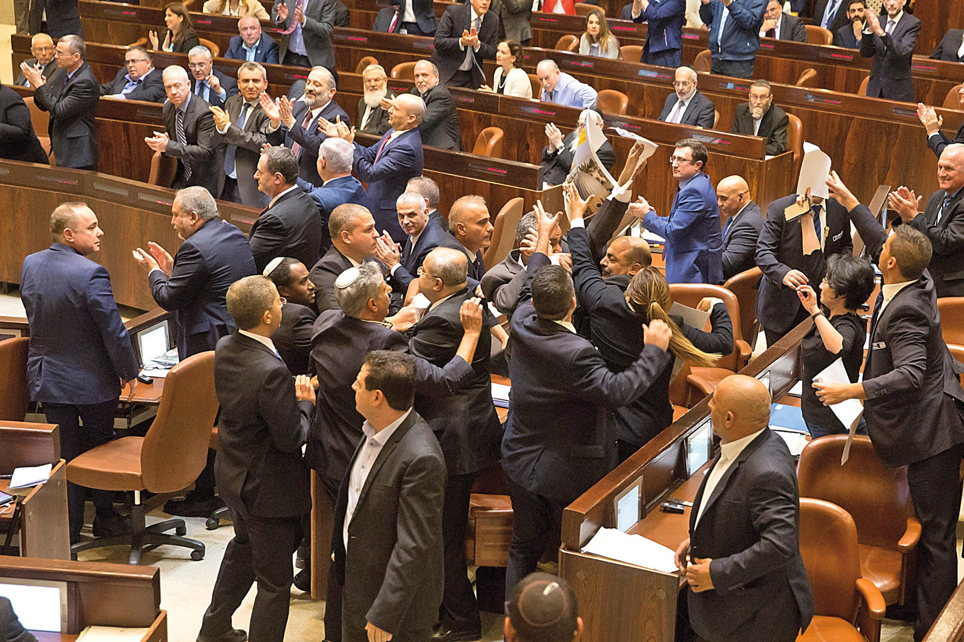 Arab Knesset members protesting the decision to move the U.S. Embassy to Jerusalem. Their protest got them evicted from the House.