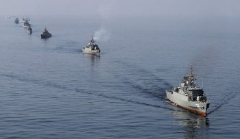 File photo: Iranian naval ships near the Strait of Hormuz.