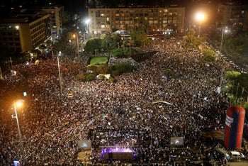 Tens of thousands protest against the nation-state law at a rally organized by the Druze community, Tel Aviv, Israel, 2018.