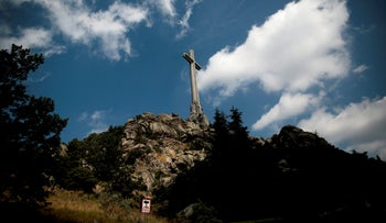 A general view of the Holy Cross at the Valley of the Fallen monument near El Escorial, outside Madrid, July 13 2018