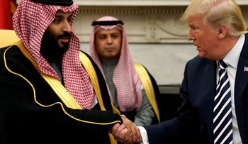 U.S. President Donald Trump shakes hands with Saudi Arabia's Crown Prince Mohammed bin Salman in the Oval Office at the White House in Washington, DC, U.S. March 20, 2018