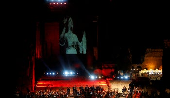 Lebanese musicians perform at the opening of Baalbek International Festival, in Baalbek, Lebanon July 20, 2018