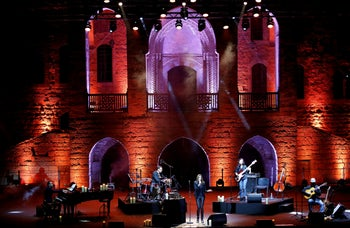 French-Italian singer Carla Bruni performs during the Beiteddine Art Festival in Beiteddine, Lebanon July 30, 2018.